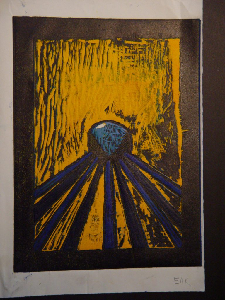 Reduction woodblock print